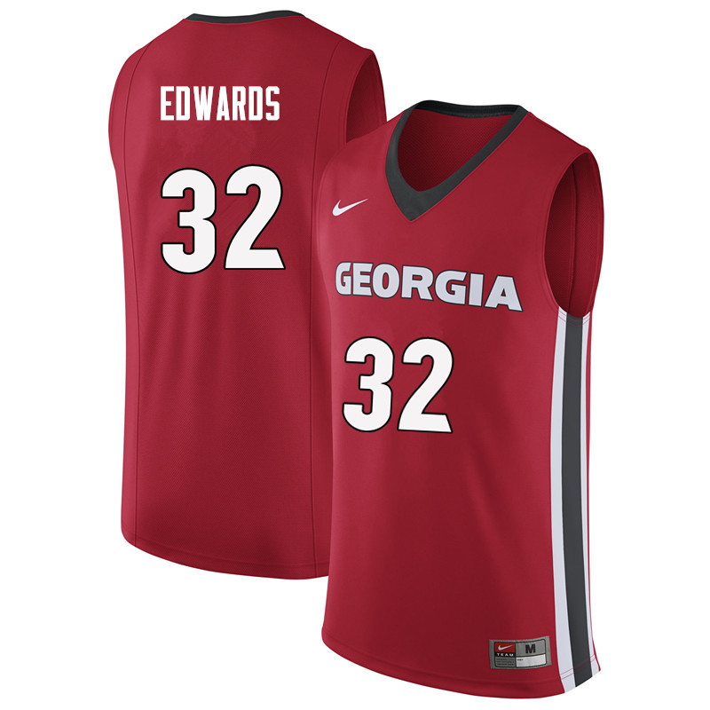 Men #32 Mike Edwards Georgia Bulldogs College Basketball Jerseys Sale-Red