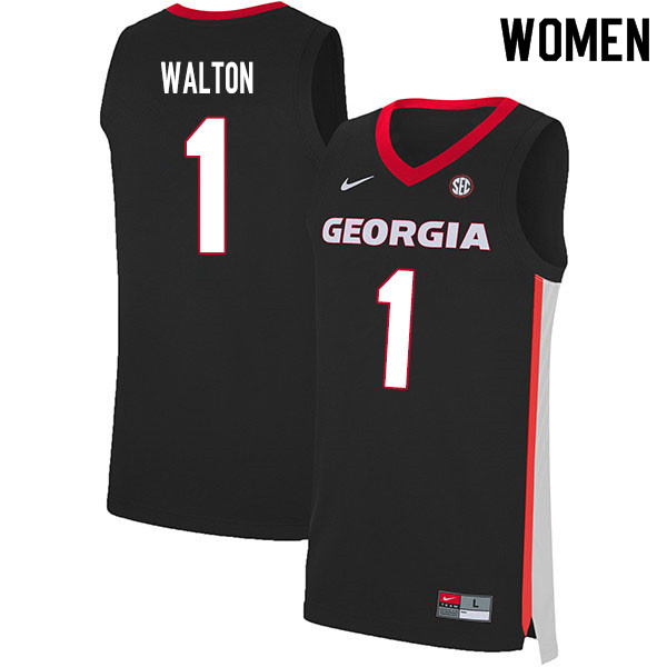 2020 Women #1 Jaykwon Walton Georgia Bulldogs College Basketball Jerseys Sale-Black