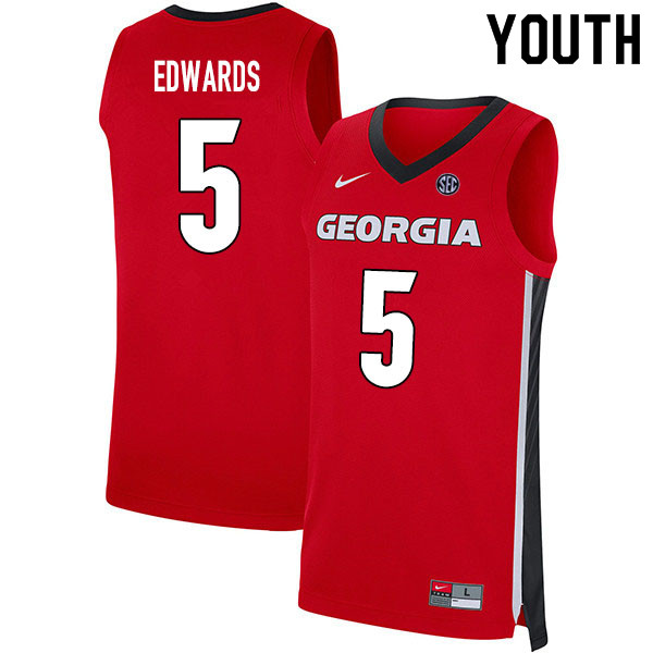 2020 Youth #5 Anthony Edwards Georgia Bulldogs College Basketball Jerseys Sale-Red