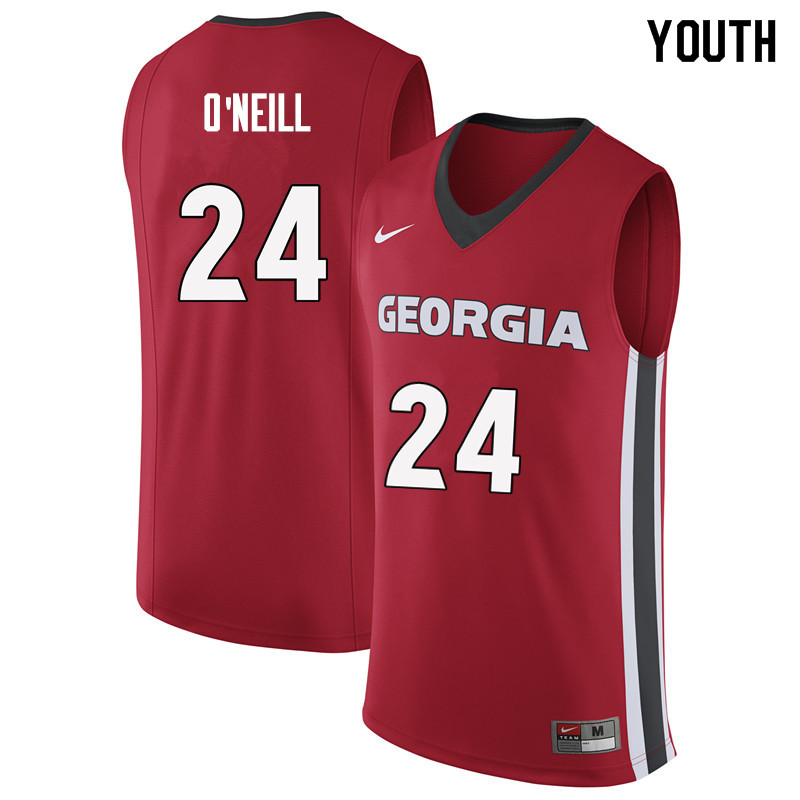 Youth #24 Connor O'Neill Georgia Bulldogs College Basketball Jerseys Sale-Red