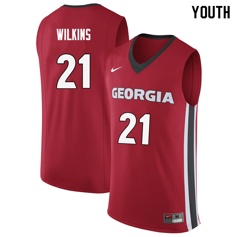 Youth #21 Dominique Wilkins Georgia Bulldogs College Basketball Jerseys Sale-Red