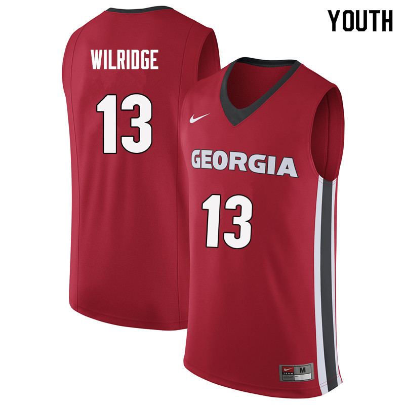 Youth #13 E'Torrion Wilridge Georgia Bulldogs College Basketball Jerseys Sale-Red