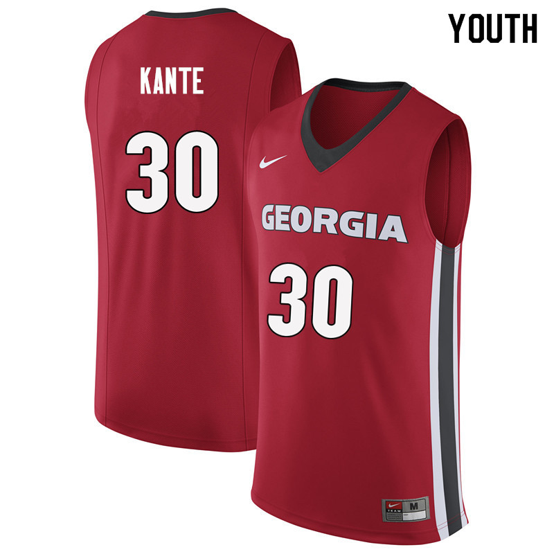 Youth #30 Isaac Kante Georgia Bulldogs College Basketball Jerseys Sale-Red