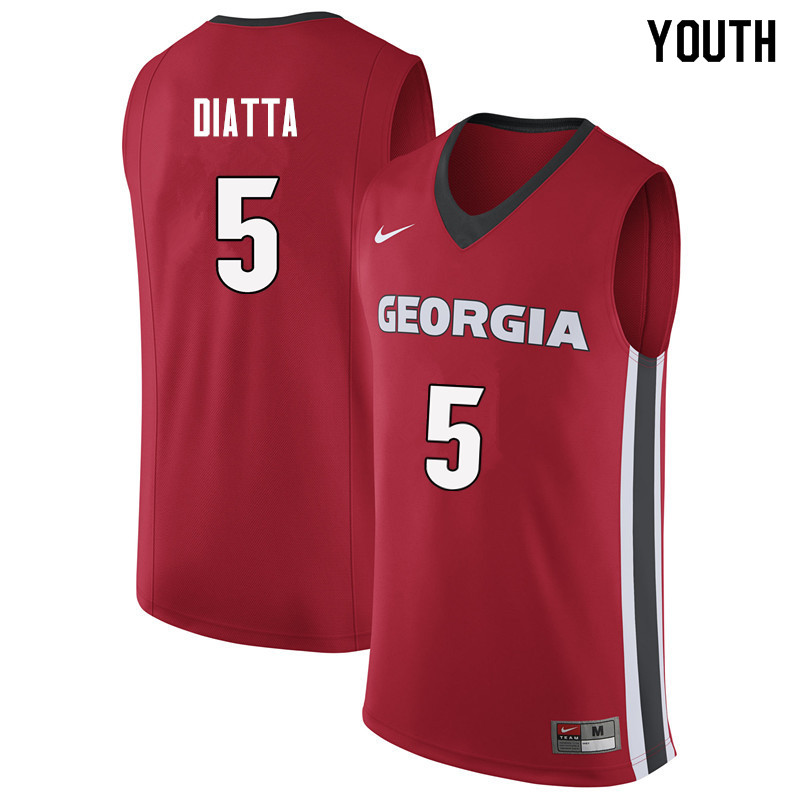 Youth #5 Pape Diatta Georgia Bulldogs College Basketball Jerseys Sale-Red